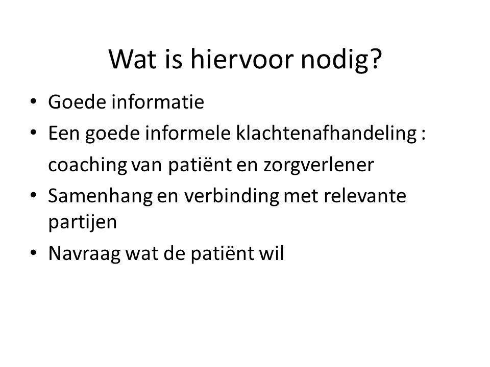 Wat is hiervoor nodig Goede informatie. Een goede informele klachtenafhandeling : coaching van patiënt en zorgverlener.