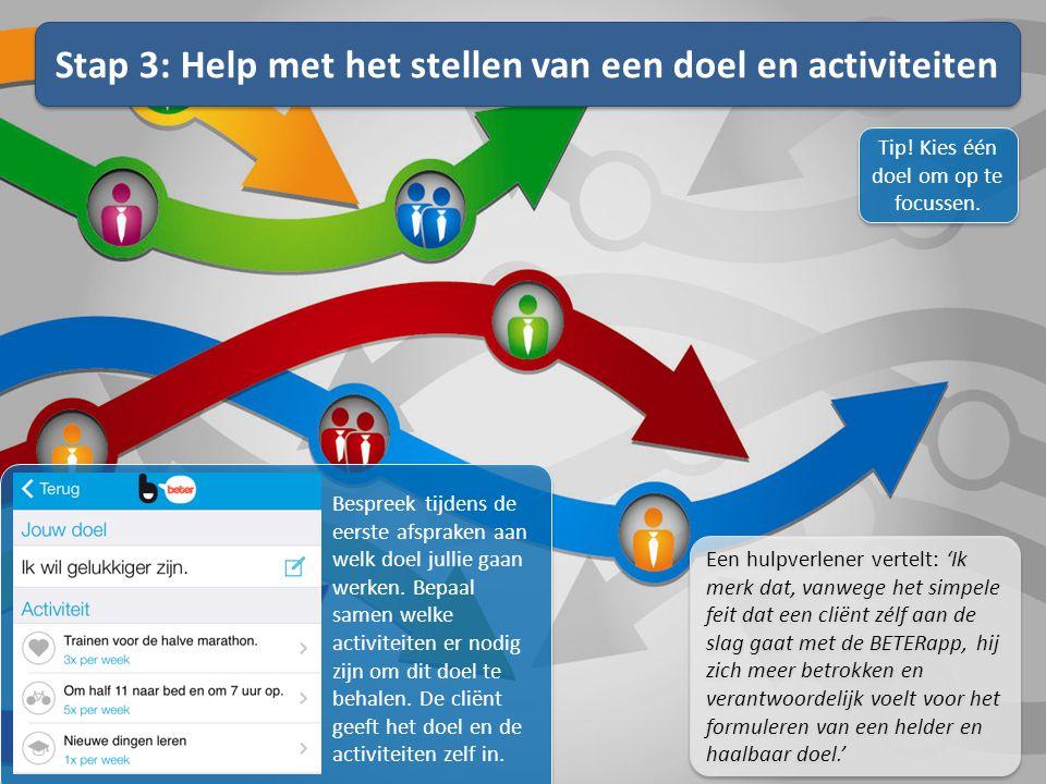 Stap 3: Help met het stellen van een doel en activiteiten