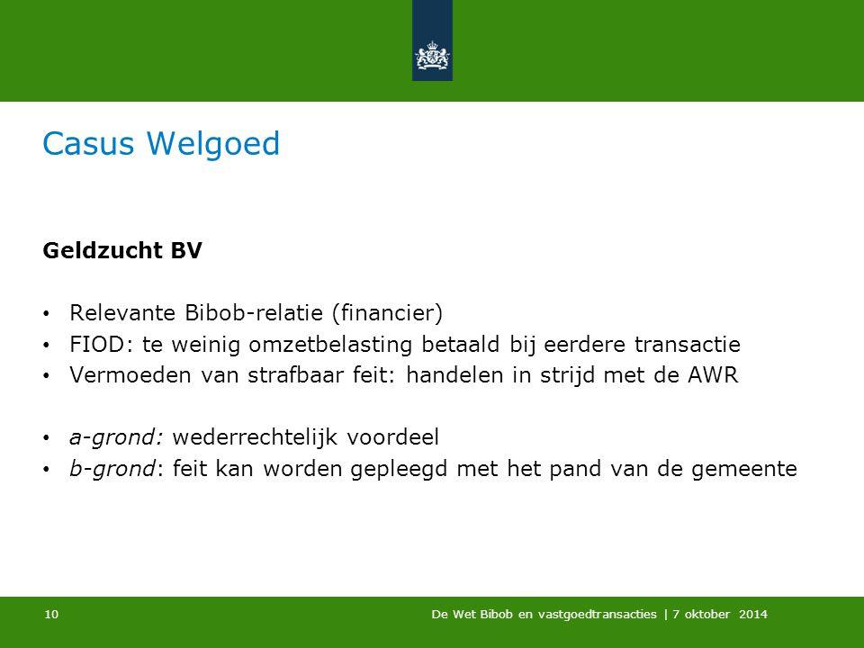 Casus Welgoed Geldzucht BV Relevante Bibob-relatie (financier)