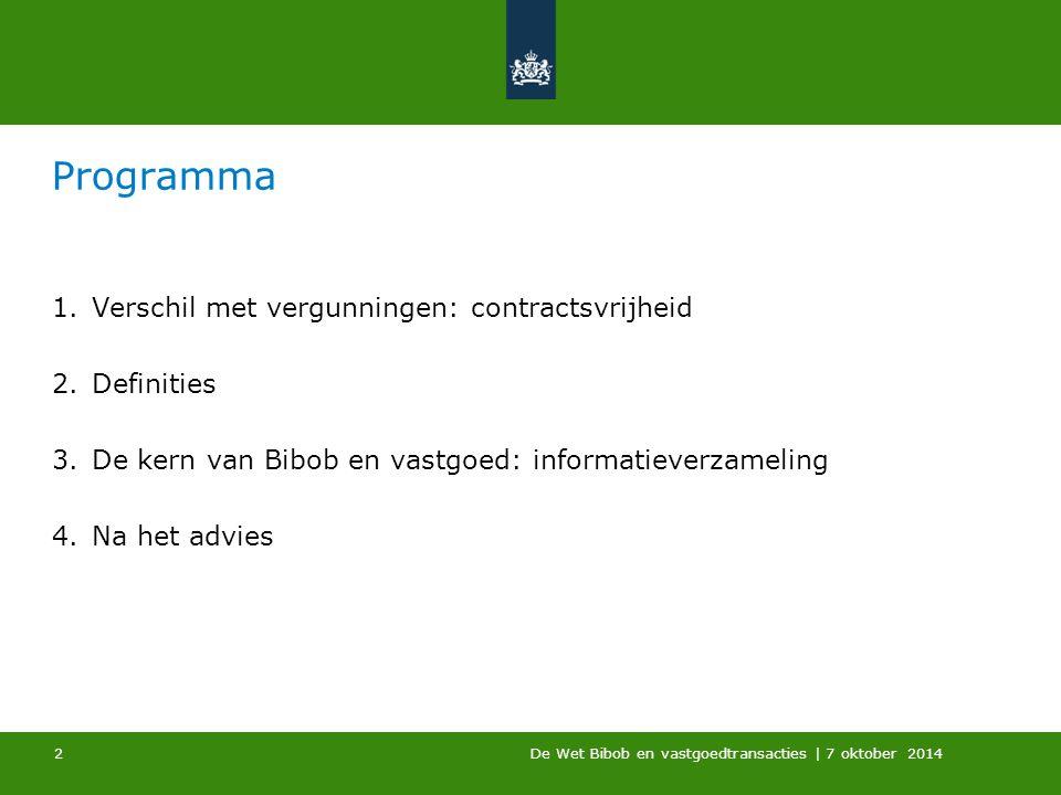 Programma Verschil met vergunningen: contractsvrijheid Definities
