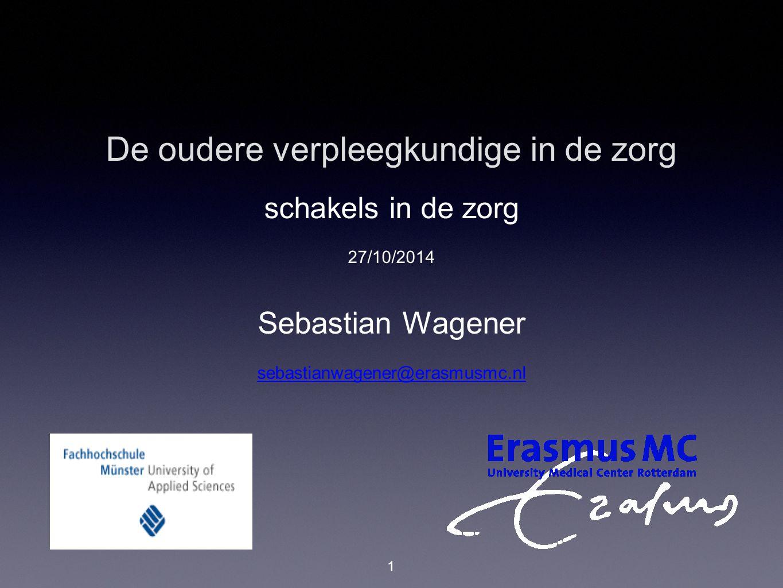 De oudere verpleegkundige in de zorg schakels in de zorg 27/10/2014