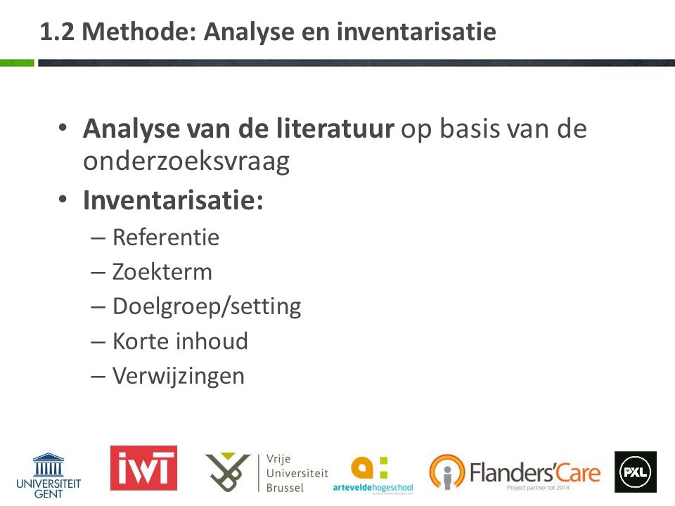 1.2 Methode: Analyse en inventarisatie