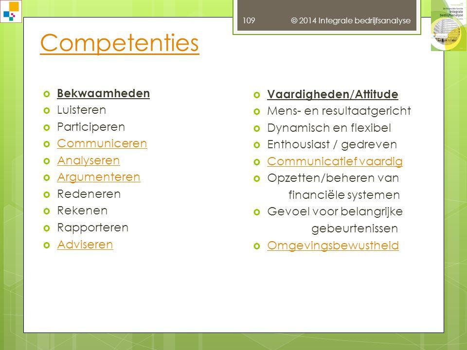Competenties Bekwaamheden Vaardigheden/Attitude Luisteren