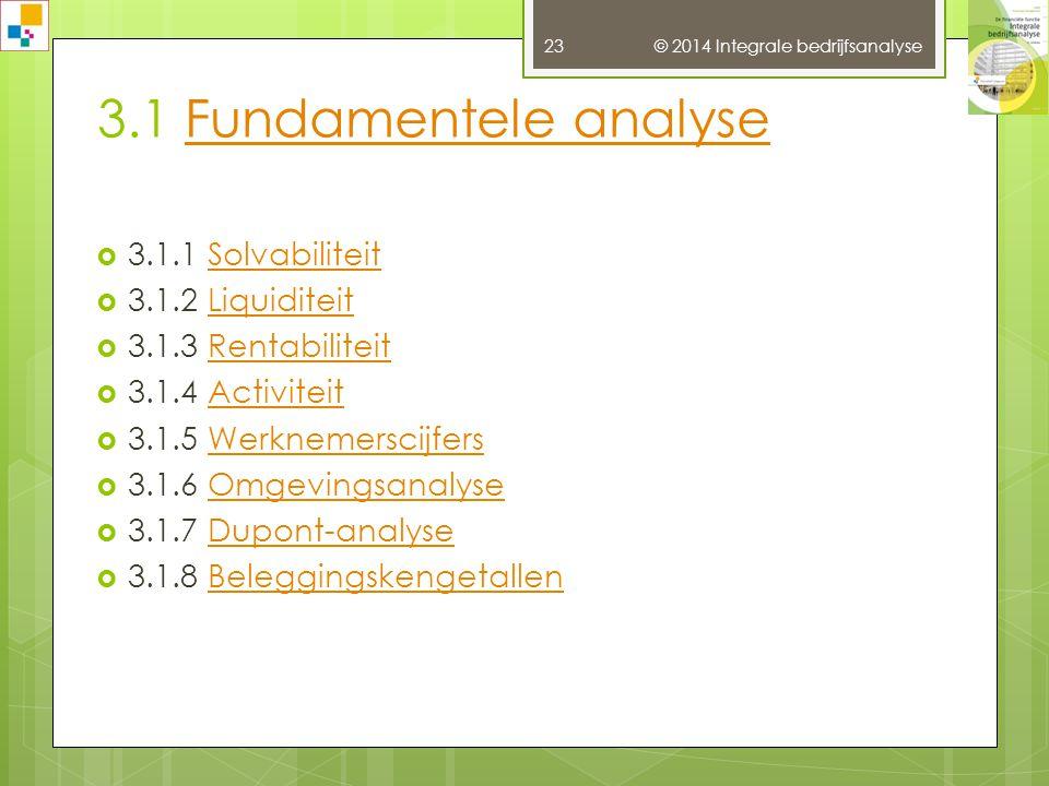 3.1 Fundamentele analyse 3.1.1 Solvabiliteit 3.1.2 Liquiditeit