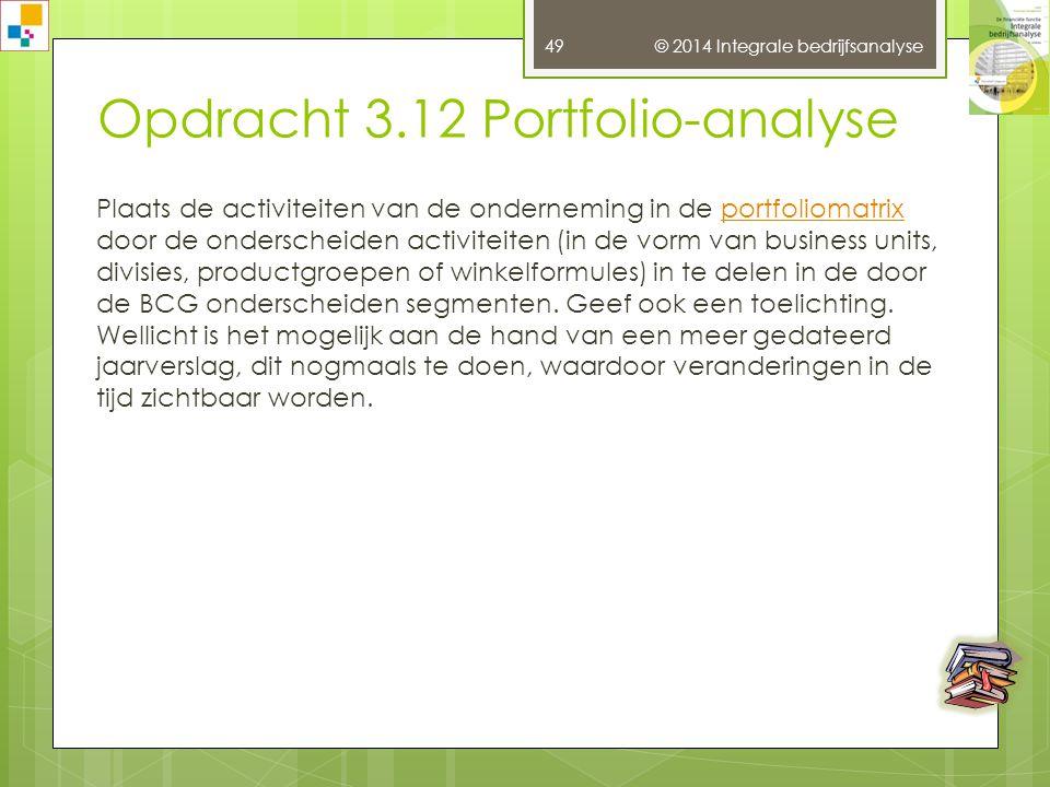 Opdracht 3.12 Portfolio-analyse