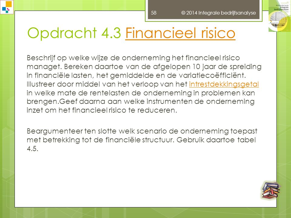 Opdracht 4.3 Financieel risico
