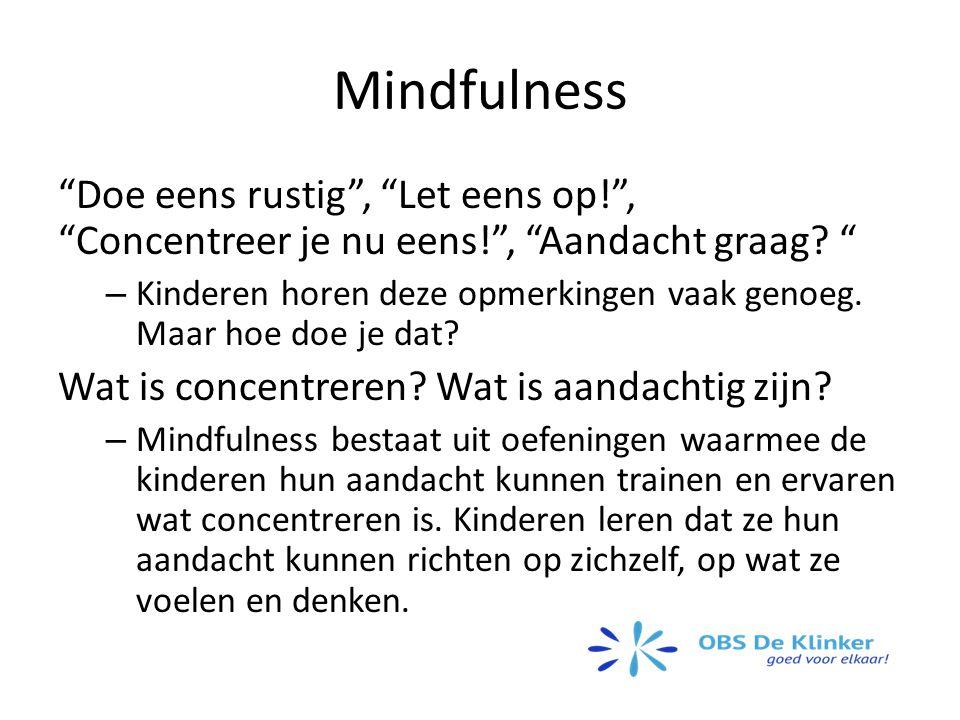 Mindfulness Doe eens rustig , Let eens op! , Concentreer je nu eens! , Aandacht graag