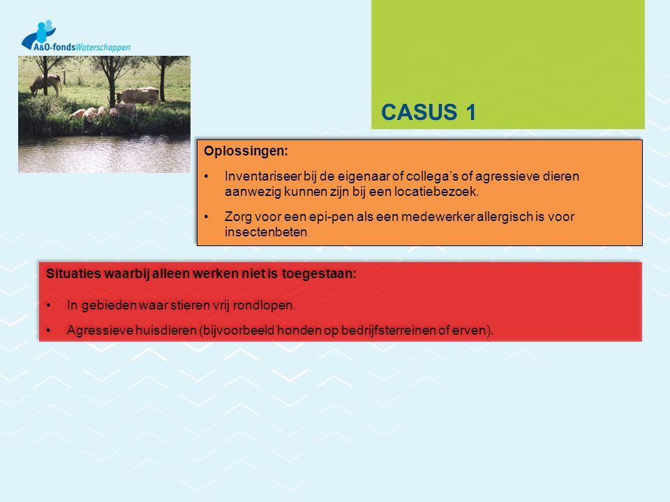 Casus 1 Oplossingen: Inventariseer bij de eigenaar of collega's of agressieve dieren aanwezig kunnen zijn bij een locatiebezoek.