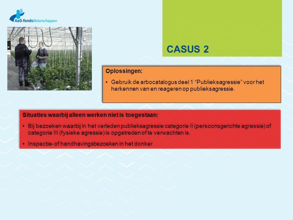 Casus 2 Oplossingen: Gebruik de arbocatalogus deel 1 Publieksagressie voor het herkennen van en reageren op publieksagressie.