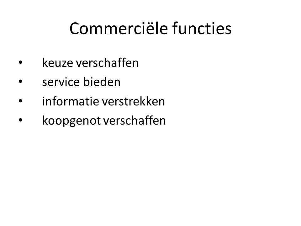 Commerciële functies keuze verschaffen service bieden