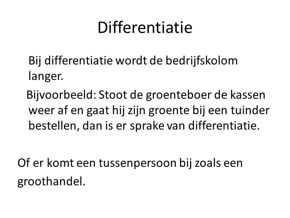 Differentiatie Bij differentiatie wordt de bedrijfskolom langer.