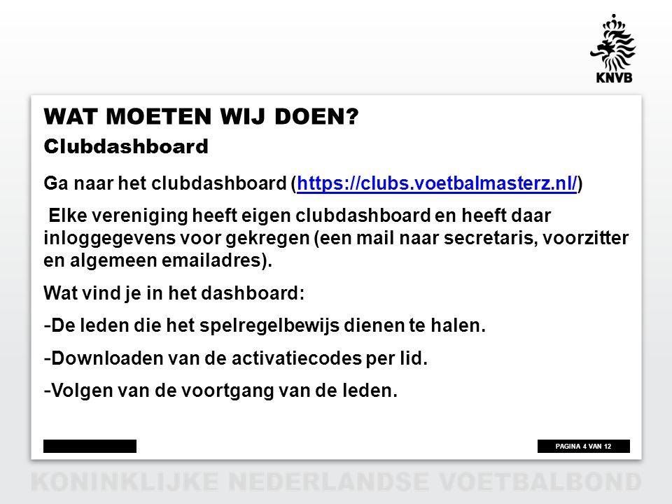 Wat moeten wij doen Clubdashboard