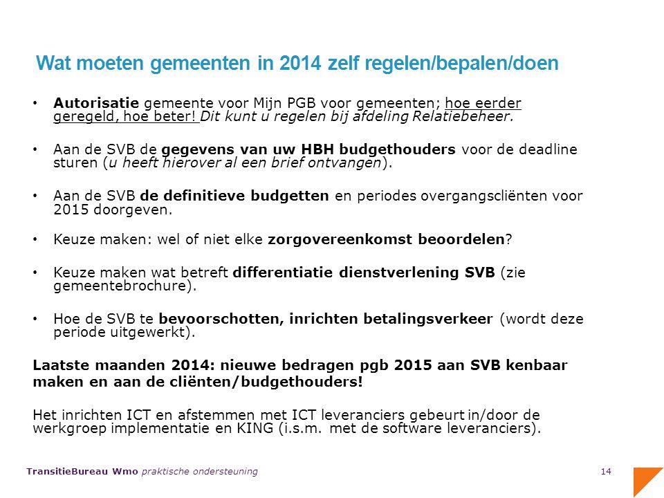 Wat moeten gemeenten in 2014 zelf regelen/bepalen/doen