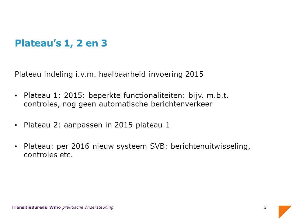 Plateau's 1, 2 en 3 Plateau indeling i.v.m. haalbaarheid invoering 2015.