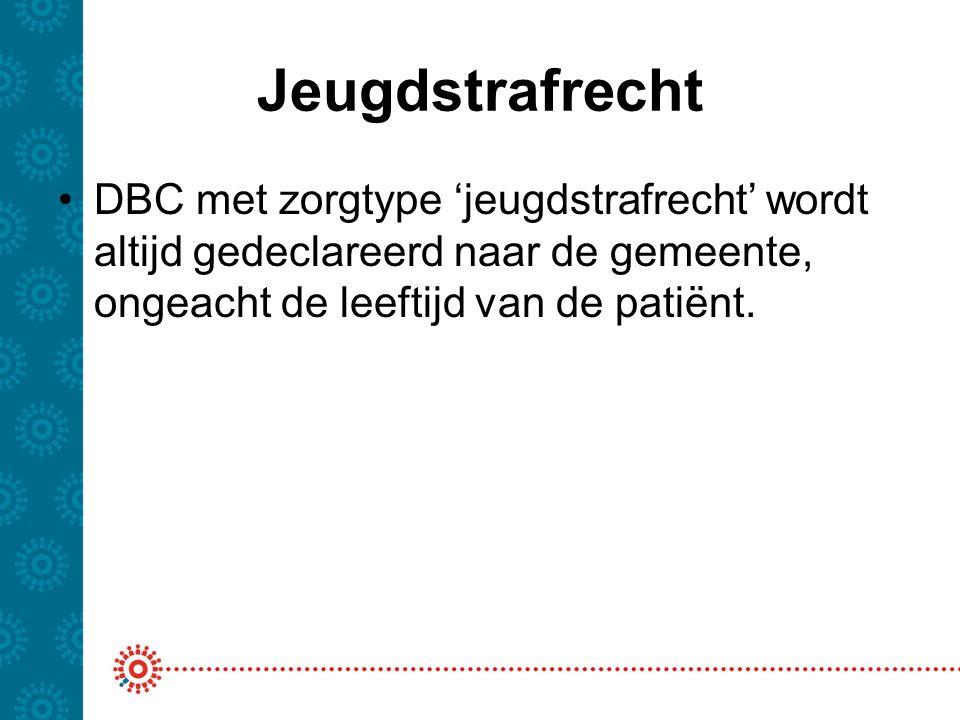 Jeugdstrafrecht DBC met zorgtype 'jeugdstrafrecht' wordt altijd gedeclareerd naar de gemeente, ongeacht de leeftijd van de patiënt.