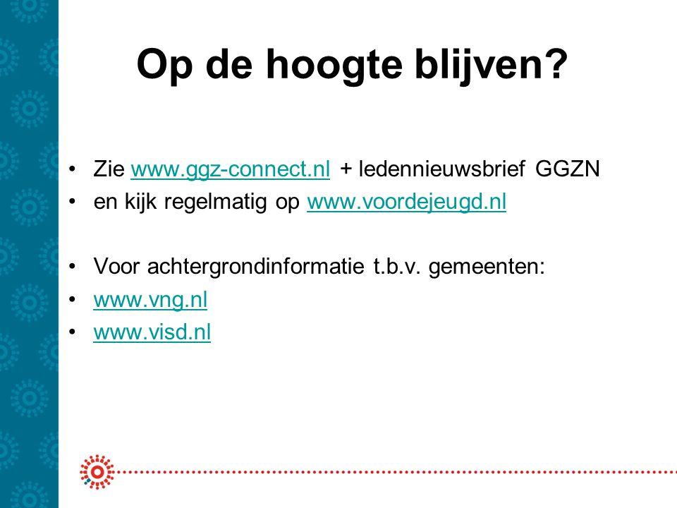 Op de hoogte blijven Zie www.ggz-connect.nl + ledennieuwsbrief GGZN