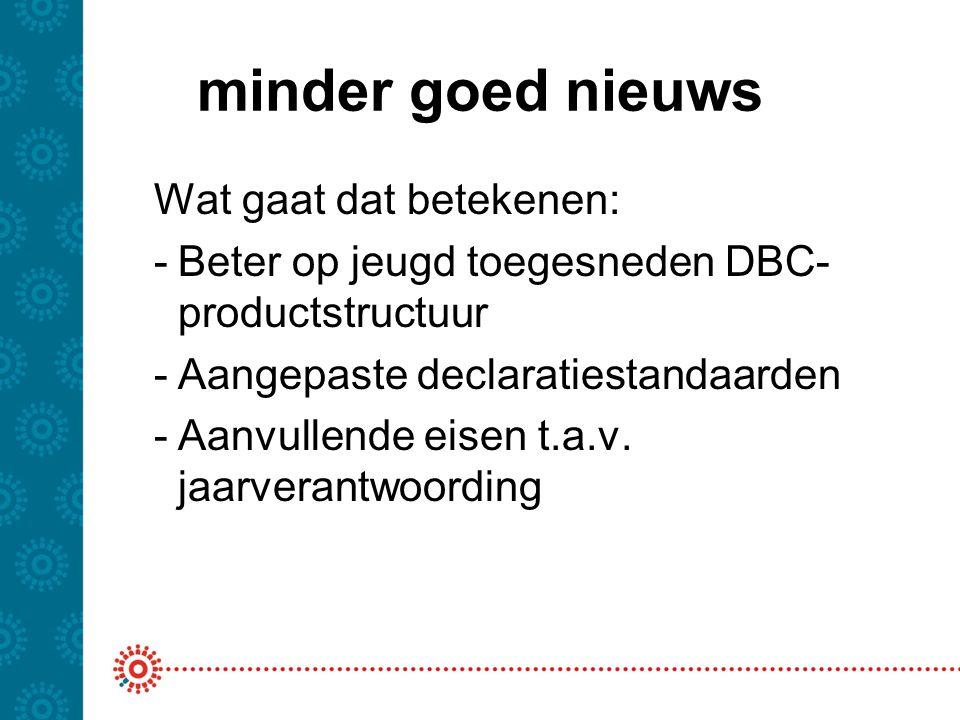 minder goed nieuws Beter op jeugd toegesneden DBC-productstructuur