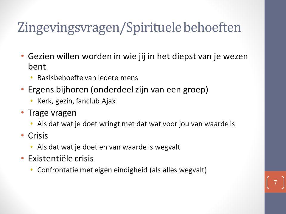 Zingevingsvragen/Spirituele behoeften