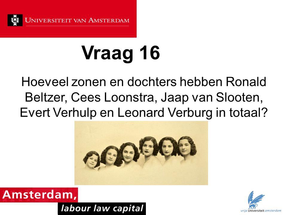 Vraag 16 Hoeveel zonen en dochters hebben Ronald Beltzer, Cees Loonstra, Jaap van Slooten, Evert Verhulp en Leonard Verburg in totaal