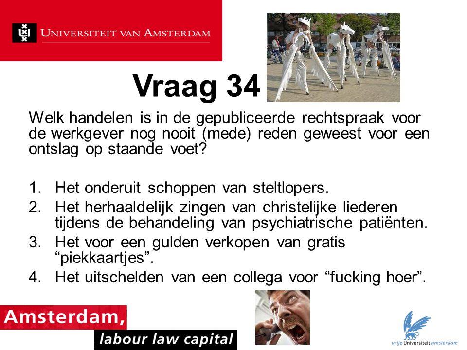Vraag 34 Welk handelen is in de gepubliceerde rechtspraak voor de werkgever nog nooit (mede) reden geweest voor een ontslag op staande voet