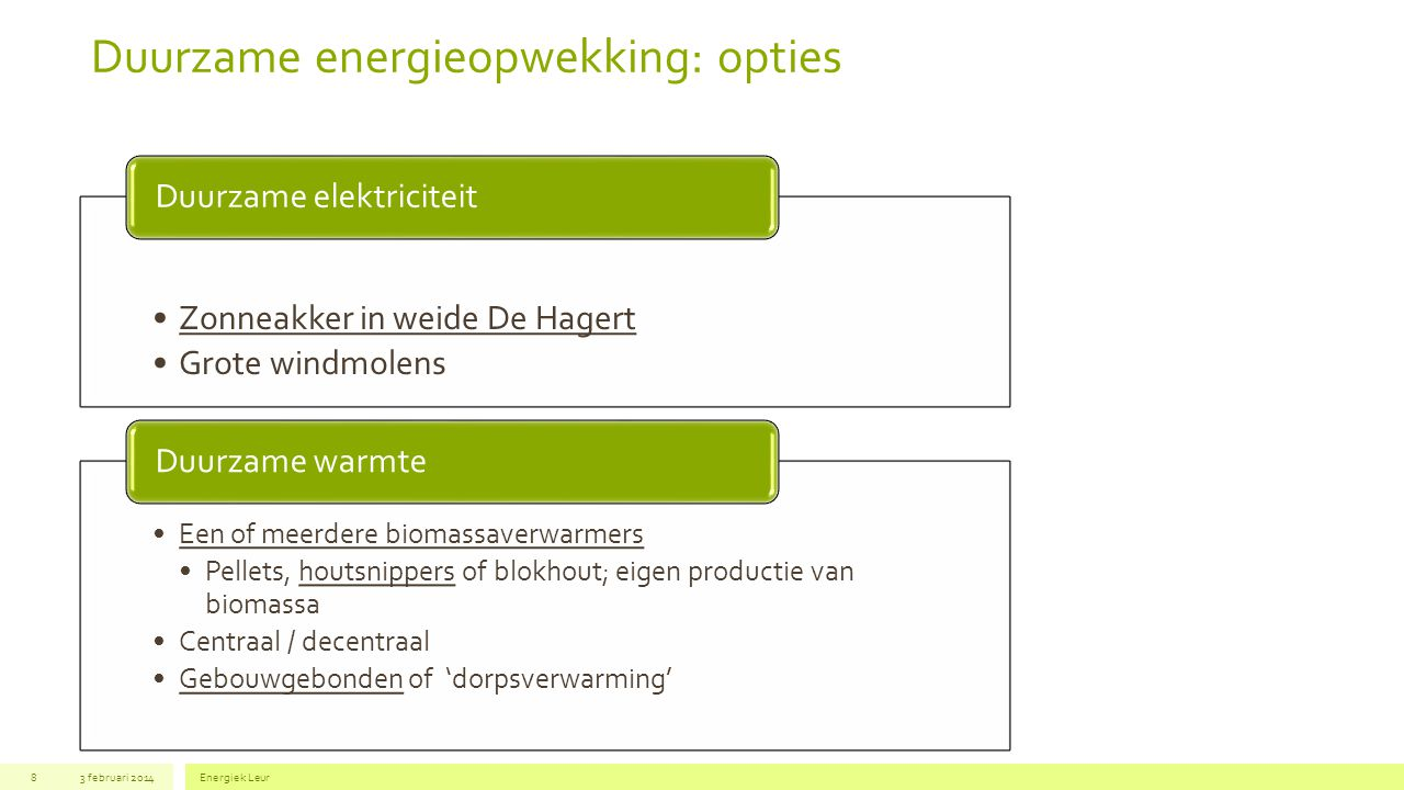 Duurzame energieopwekking: opties
