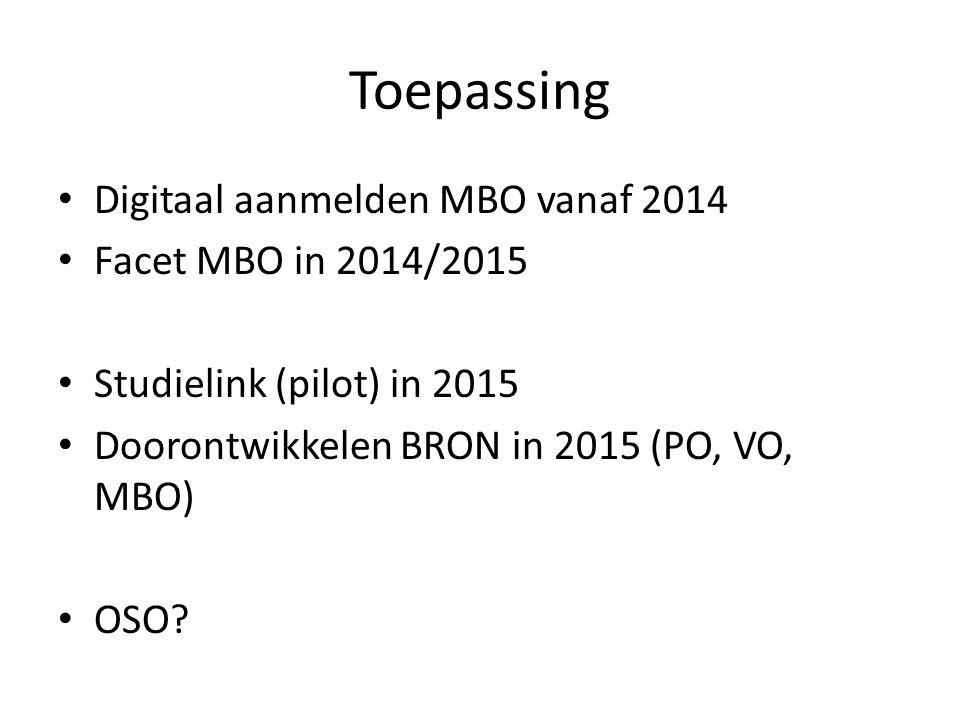 Toepassing Digitaal aanmelden MBO vanaf 2014 Facet MBO in 2014/2015
