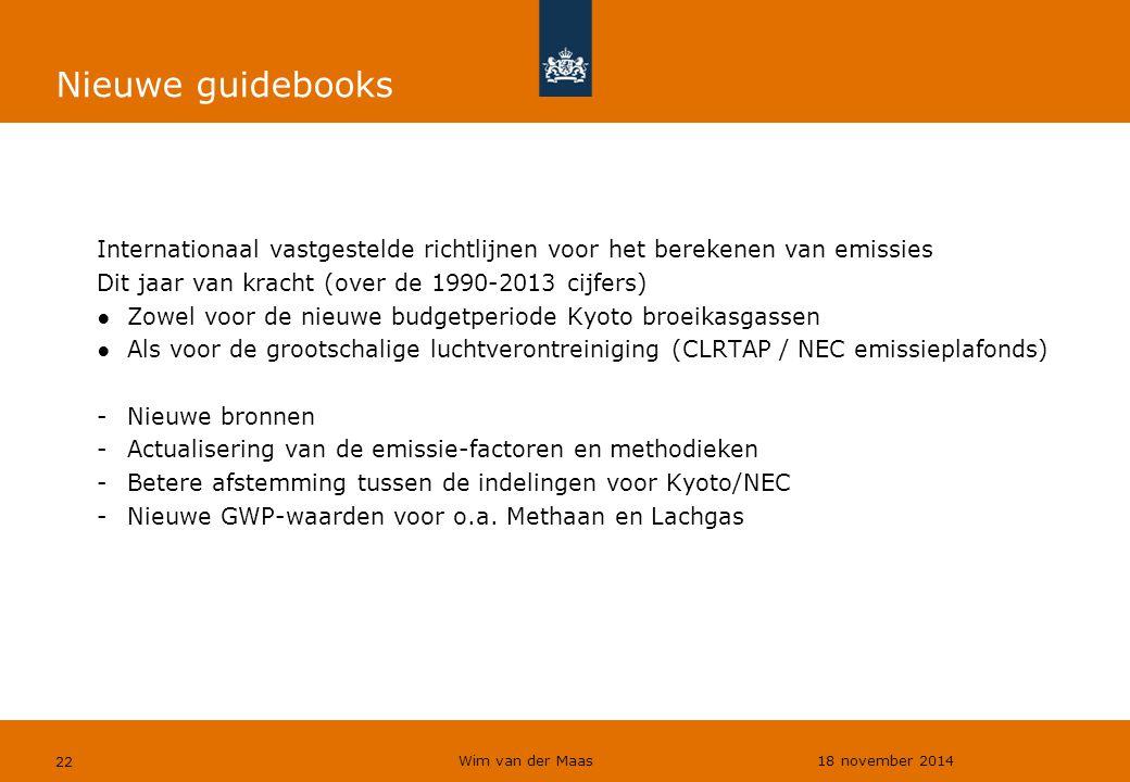 Nieuwe guidebooks Internationaal vastgestelde richtlijnen voor het berekenen van emissies. Dit jaar van kracht (over de 1990-2013 cijfers)
