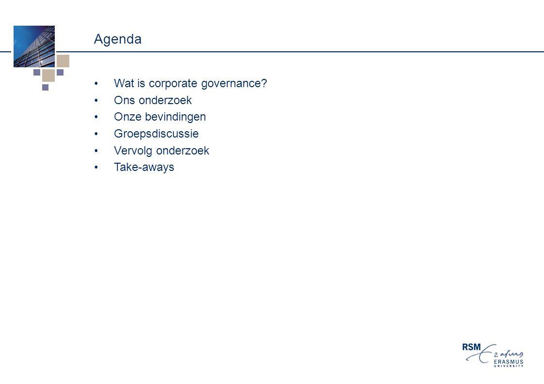 Agenda Wat is corporate governance Ons onderzoek Onze bevindingen
