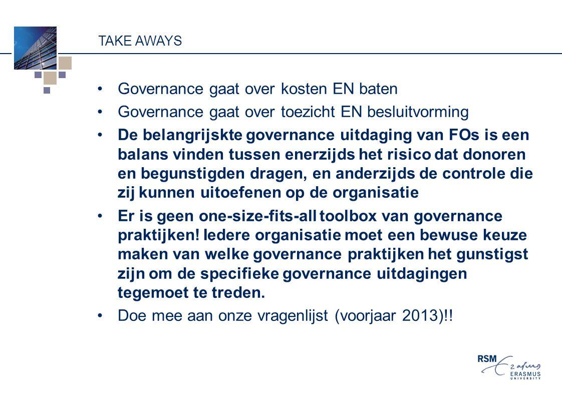 Governance gaat over kosten EN baten
