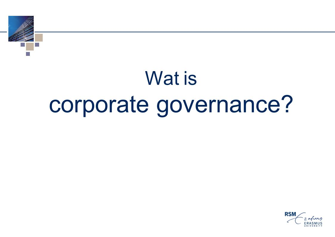 Wat is corporate governance