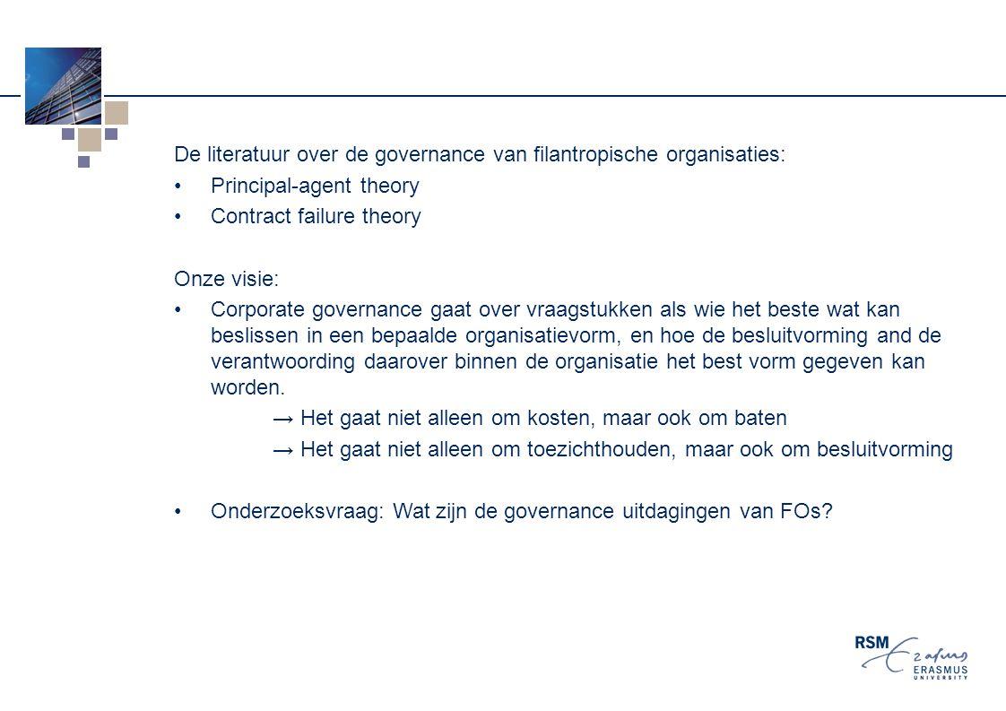 De literatuur over de governance van filantropische organisaties: