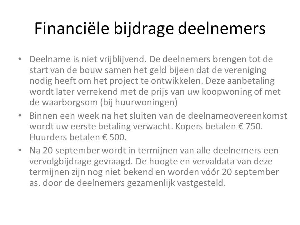 Financiële bijdrage deelnemers