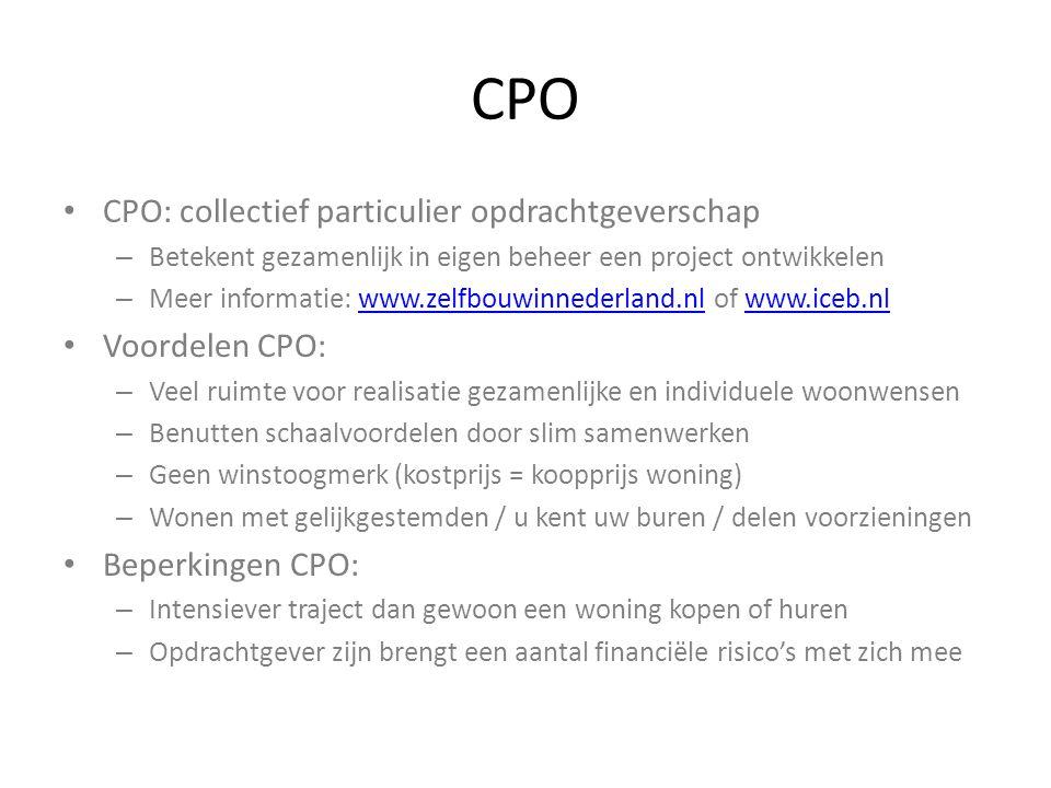CPO CPO: collectief particulier opdrachtgeverschap Voordelen CPO: