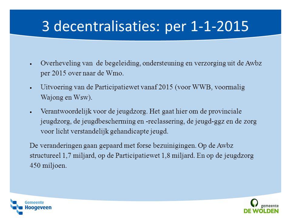 3 decentralisaties: per 1-1-2015