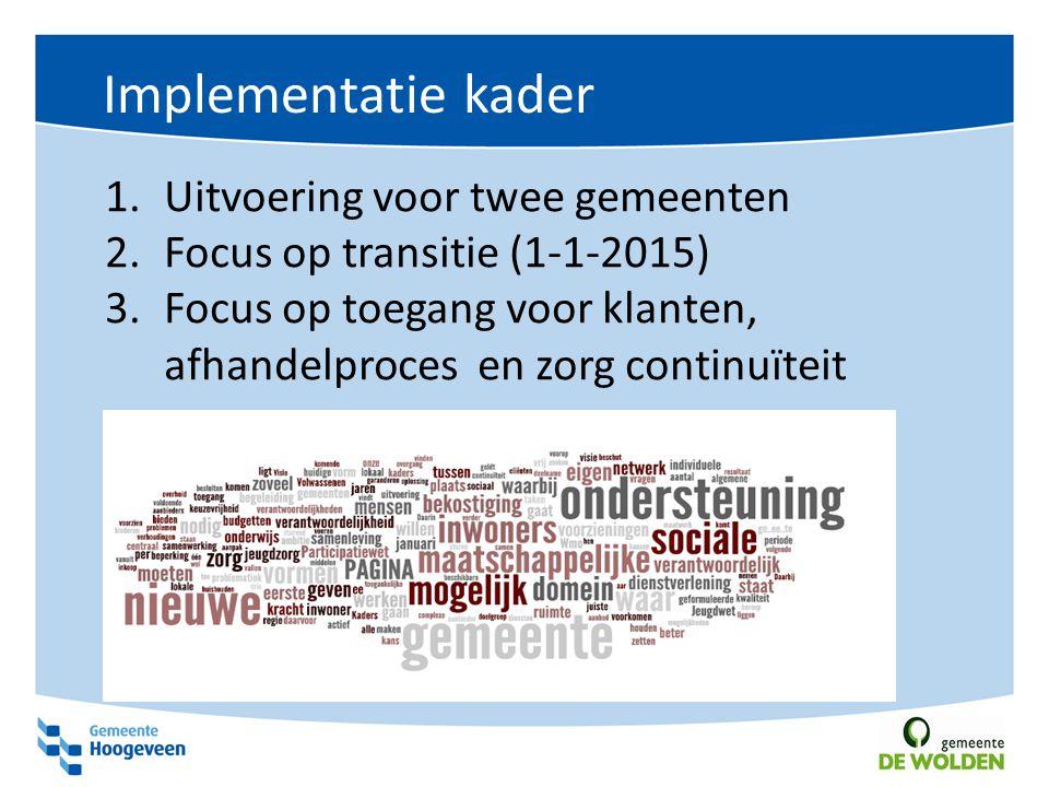 Implementatie kader Uitvoering voor twee gemeenten