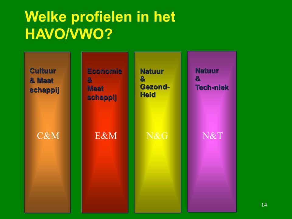 Welke profielen in het HAVO/VWO