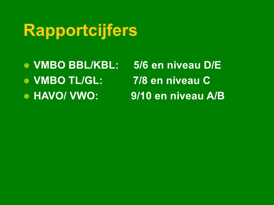 Rapportcijfers VMBO BBL/KBL: 5/6 en niveau D/E