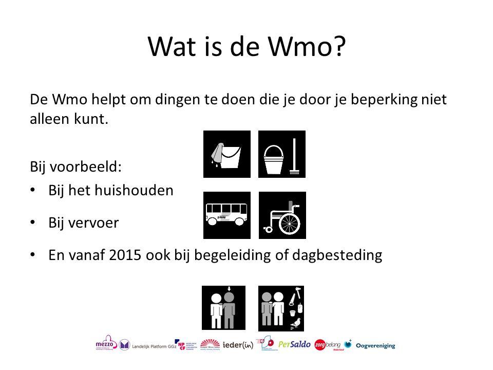 Wat is de Wmo De Wmo helpt om dingen te doen die je door je beperking niet alleen kunt. Bij voorbeeld: