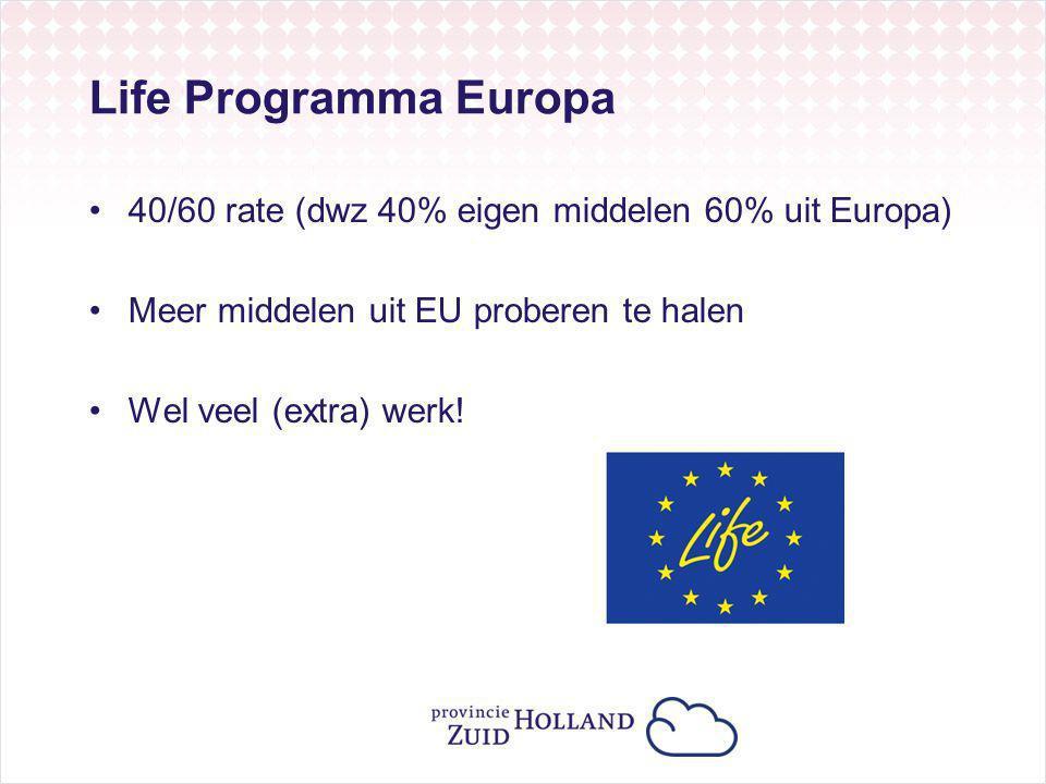Life Programma Europa 40/60 rate (dwz 40% eigen middelen 60% uit Europa) Meer middelen uit EU proberen te halen.