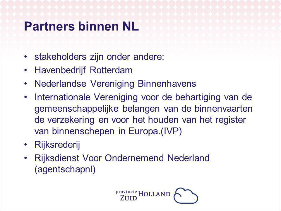 Partners binnen NL stakeholders zijn onder andere: