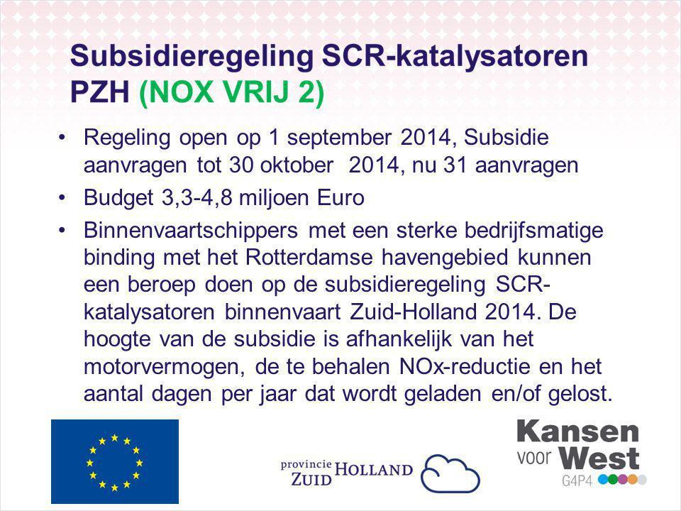 Regeling open op 1 september 2014, Subsidie aanvragen tot 30 oktober 2014, nu 31 aanvragen