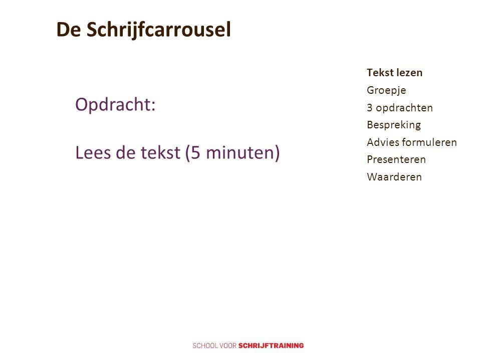 De Schrijfcarrousel Opdracht: Lees de tekst (5 minuten)