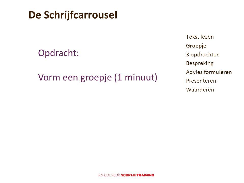 De Schrijfcarrousel Opdracht: Vorm een groepje (1 minuut)