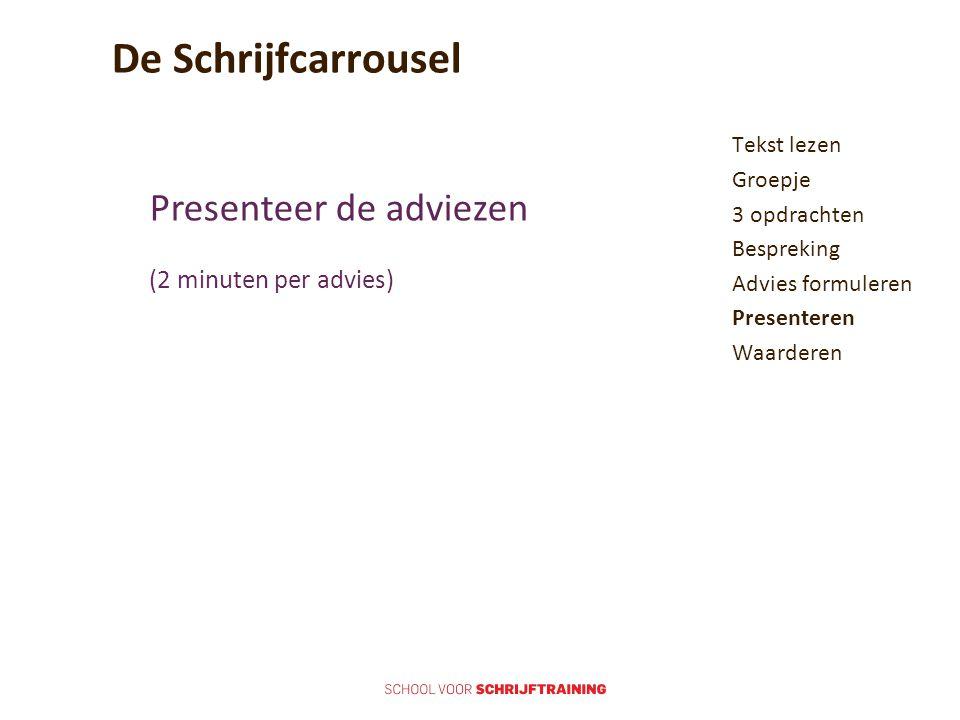 De Schrijfcarrousel Presenteer de adviezen (2 minuten per advies)
