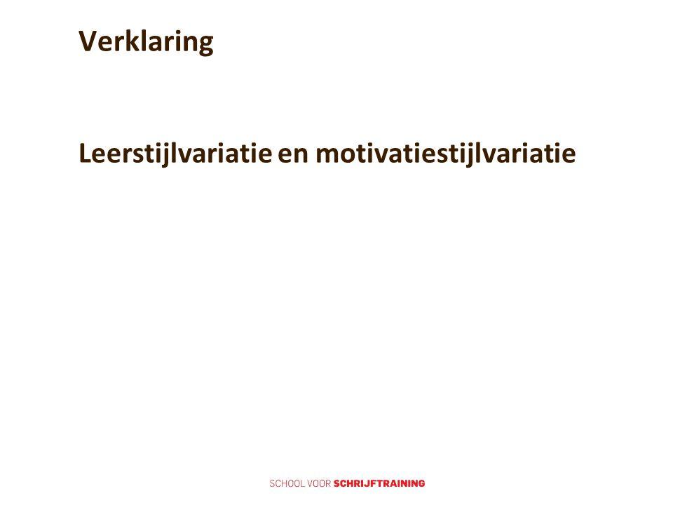 Verklaring Leerstijlvariatie en motivatiestijlvariatie