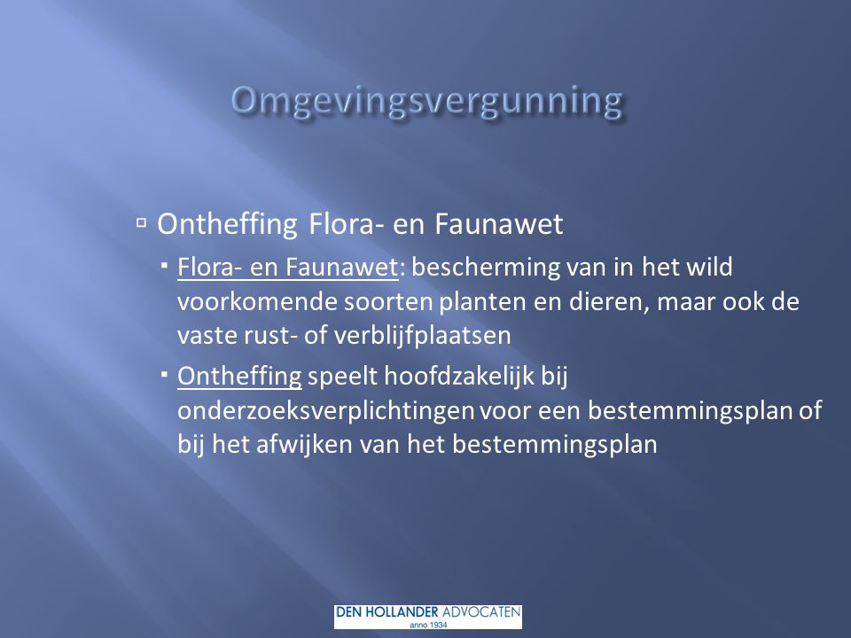 Omgevingsvergunning Ontheffing Flora- en Faunawet