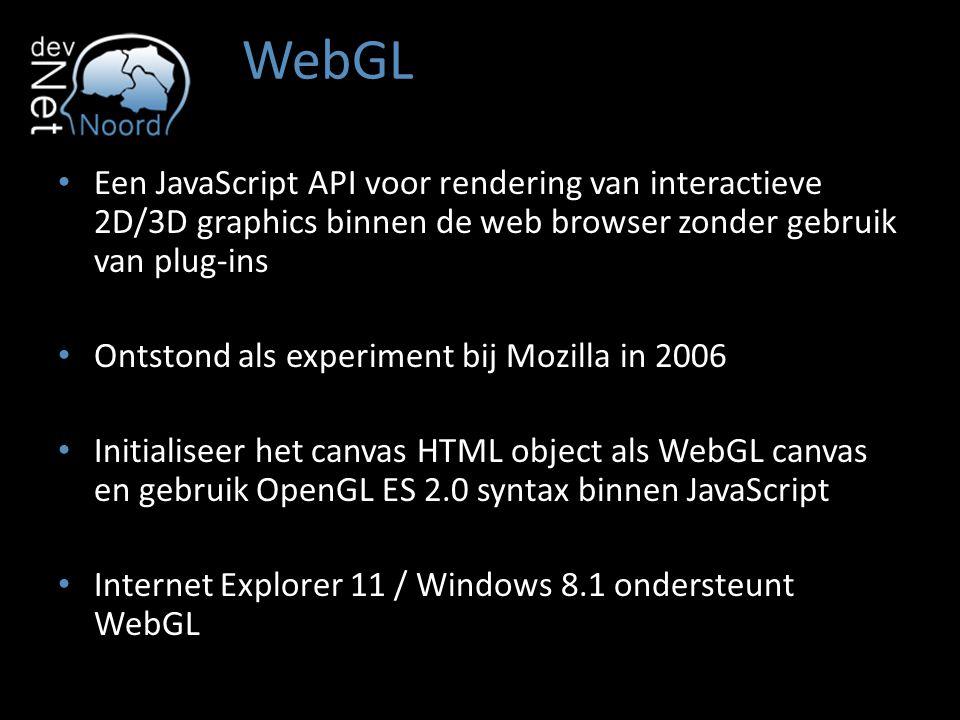WebGL Een JavaScript API voor rendering van interactieve 2D/3D graphics binnen de web browser zonder gebruik van plug-ins.