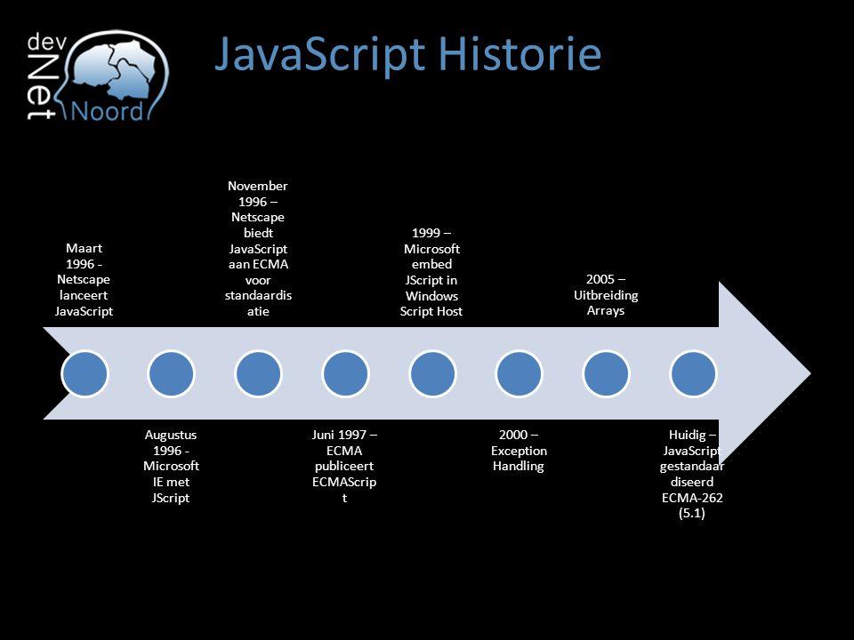 JavaScript Historie Maart 1996 - Netscape lanceert JavaScript