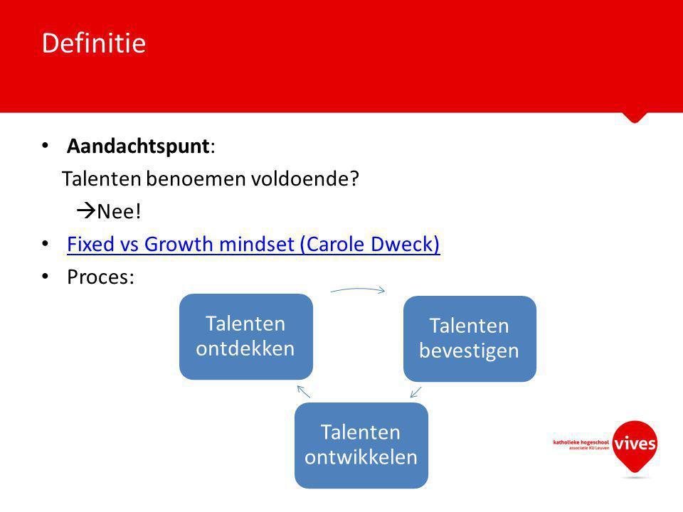 Definitie Aandachtspunt: Talenten benoemen voldoende