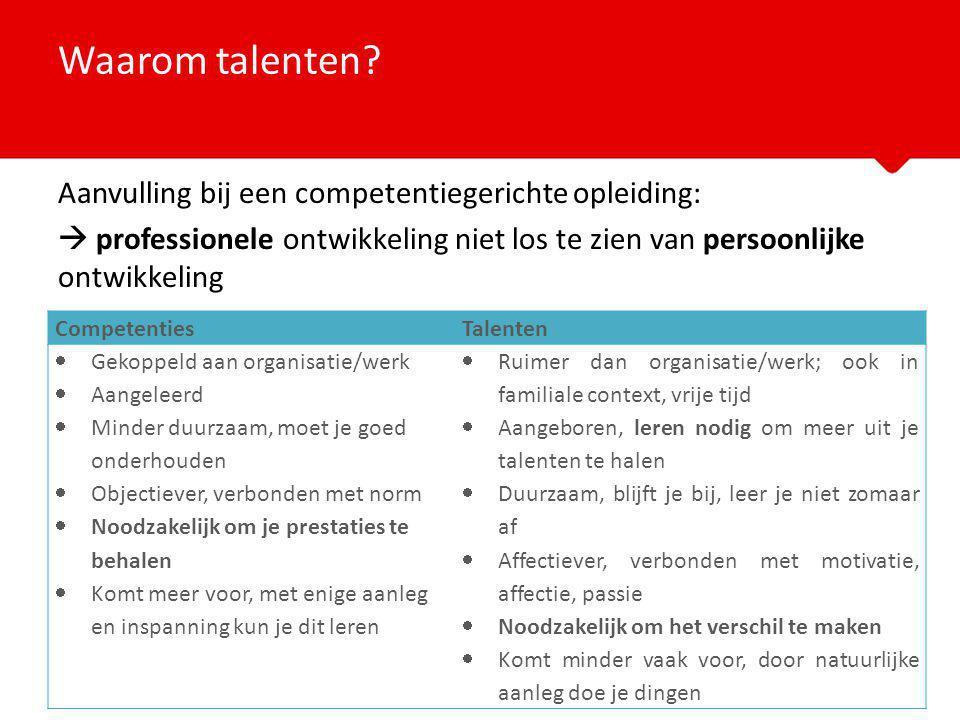 Waarom talenten Aanvulling bij een competentiegerichte opleiding: